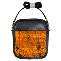 Vector Seamless Pattern With Spider Web On Orange Girls Sling Bags by BangZart