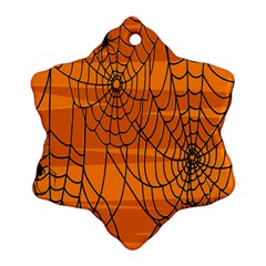 Vector Seamless Pattern With Spider Web On Orange Ornament (snowflake) by BangZart