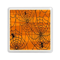 Vector Seamless Pattern With Spider Web On Orange Memory Card Reader (square)  by BangZart