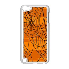 Vector Seamless Pattern With Spider Web On Orange Apple Ipod Touch 5 Case (white) by BangZart