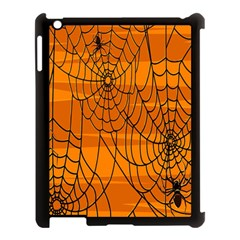 Vector Seamless Pattern With Spider Web On Orange Apple Ipad 3/4 Case (black) by BangZart