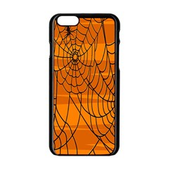 Vector Seamless Pattern With Spider Web On Orange Apple Iphone 6/6s Black Enamel Case by BangZart