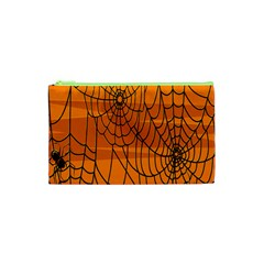Vector Seamless Pattern With Spider Web On Orange Cosmetic Bag (xs) by BangZart
