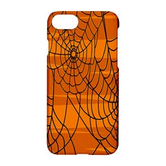 Vector Seamless Pattern With Spider Web On Orange Apple Iphone 7 Hardshell Case by BangZart