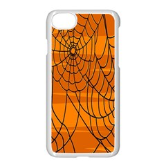 Vector Seamless Pattern With Spider Web On Orange Apple Iphone 7 Seamless Case (white) by BangZart