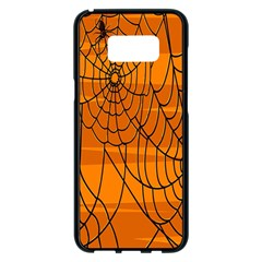 Vector Seamless Pattern With Spider Web On Orange Samsung Galaxy S8 Plus Black Seamless Case