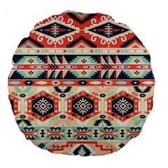 Aztec Pattern Copy Large 18  Premium Round Cushions by BangZart