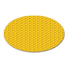 Yellow Dots Pattern Oval Magnet by BangZart