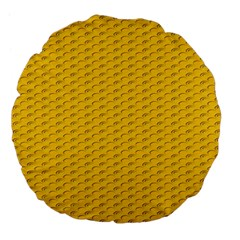 Yellow Dots Pattern Large 18  Premium Flano Round Cushions by BangZart