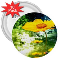 Yellow Flowers 3  Buttons (10 Pack)  by BangZart