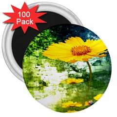 Yellow Flowers 3  Magnets (100 Pack) by BangZart