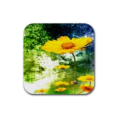 Yellow Flowers Rubber Square Coaster (4 Pack)  by BangZart