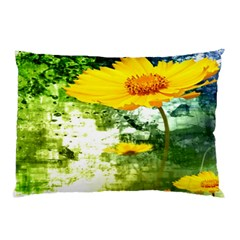 Yellow Flowers Pillow Case (two Sides) by BangZart