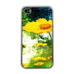 Yellow Flowers Apple Iphone 4 Case (clear) by BangZart