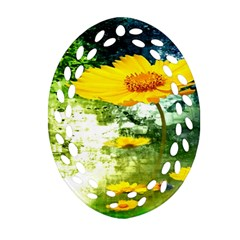 Yellow Flowers Oval Filigree Ornament (two Sides) by BangZart