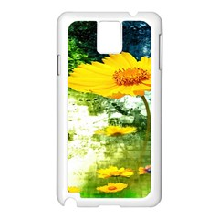Yellow Flowers Samsung Galaxy Note 3 N9005 Case (white) by BangZart