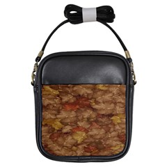 Brown Texture Girls Sling Bags