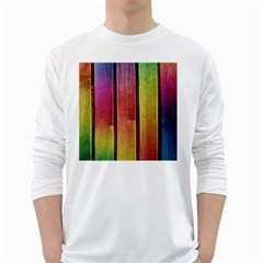 Colourful Wood Painting White Long Sleeve T Shirts by BangZart