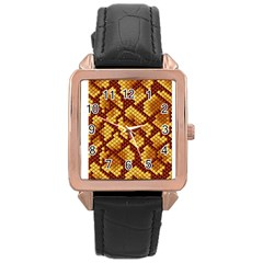 Snake Skin Pattern Vector Rose Gold Leather Watch  by BangZart