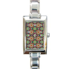 Jewel Tiles Kaleidoscope Rectangle Italian Charm Watch by WolfepawFractals