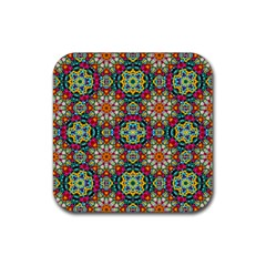 Jewel Tiles Kaleidoscope Rubber Coaster (square)  by WolfepawFractals