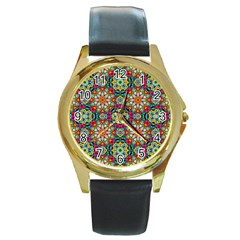 Jewel Tiles Kaleidoscope Round Gold Metal Watch by WolfepawFractals