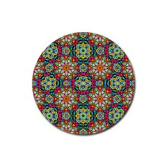 Jewel Tiles Kaleidoscope Rubber Round Coaster (4 Pack)  by WolfepawFractals