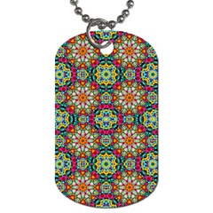 Jewel Tiles Kaleidoscope Dog Tag (one Side) by WolfepawFractals