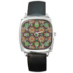 Jewel Tiles Kaleidoscope Square Metal Watch Front
