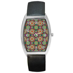 Jewel Tiles Kaleidoscope Barrel Style Metal Watch by WolfepawFractals