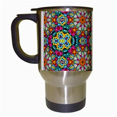 Jewel Tiles Kaleidoscope Travel Mugs (white) by WolfepawFractals