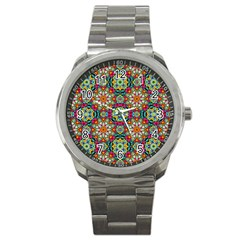 Jewel Tiles Kaleidoscope Sport Metal Watch by WolfepawFractals