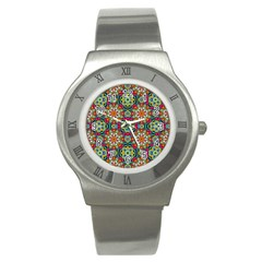 Jewel Tiles Kaleidoscope Stainless Steel Watch by WolfepawFractals