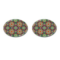 Jewel Tiles Kaleidoscope Cufflinks (oval) by WolfepawFractals