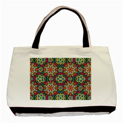 Jewel Tiles Kaleidoscope Basic Tote Bag by WolfepawFractals