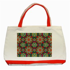 Jewel Tiles Kaleidoscope Classic Tote Bag (red) by WolfepawFractals