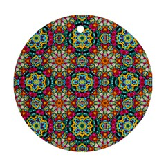 Jewel Tiles Kaleidoscope Round Ornament (two Sides) by WolfepawFractals