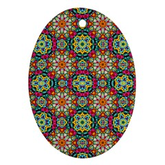 Jewel Tiles Kaleidoscope Oval Ornament (two Sides) by WolfepawFractals