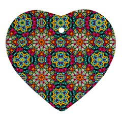 Jewel Tiles Kaleidoscope Heart Ornament (two Sides) by WolfepawFractals