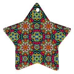 Jewel Tiles Kaleidoscope Star Ornament (two Sides) by WolfepawFractals