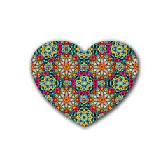 Jewel Tiles Kaleidoscope Rubber Coaster (heart)  by WolfepawFractals
