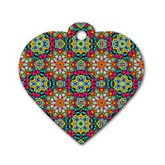 Jewel Tiles Kaleidoscope Dog Tag Heart (one Side) by WolfepawFractals