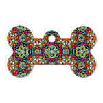 Jewel Tiles Kaleidoscope Dog Tag Bone (One Side) Front