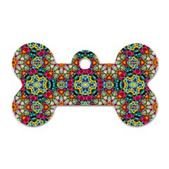Jewel Tiles Kaleidoscope Dog Tag Bone (two Sides) by WolfepawFractals