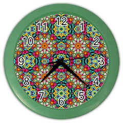 Jewel Tiles Kaleidoscope Color Wall Clocks by WolfepawFractals