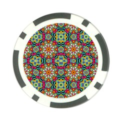 Jewel Tiles Kaleidoscope Poker Chip Card Guard by WolfepawFractals