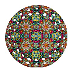 Jewel Tiles Kaleidoscope Round Filigree Ornament (two Sides) by WolfepawFractals