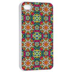 Jewel Tiles Kaleidoscope Apple Iphone 4/4s Seamless Case (white) by WolfepawFractals