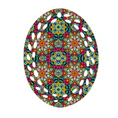 Jewel Tiles Kaleidoscope Oval Filigree Ornament (two Sides) by WolfepawFractals