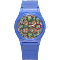 Jewel Tiles Kaleidoscope Round Plastic Sport Watch (s) by WolfepawFractals